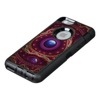 Gold Lace with Fractal Rubies on Burgundy Satin OtterBox Defender iPhone Case