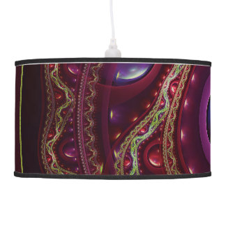Gold Lace with Fractal Rubies on Burgundy Satin Pendant Lamp