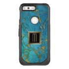 Gold Laced Blue Marble Monogram OtterBox Commuter Google Pixel Case