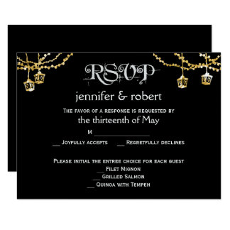 Gold Lantern Lights on Black Wedding Response Card