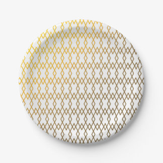 Gold Lattice Geometric Paper Plate