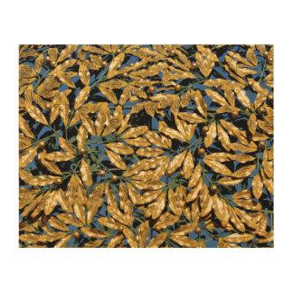 Gold Laurel Leaves Wood Canvases