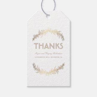 Gold Laurel Leaves Wreath Wedding Gift Tags