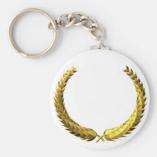 Gold Laurel Wreath Basic Round Button Keychain