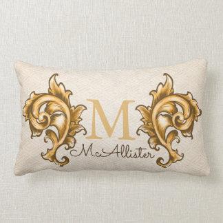 Gold Laurels Faux Woven Beige Print - Family Name Lumbar Pillow
