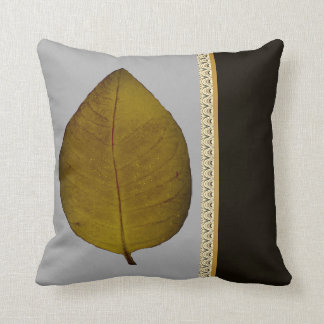 Gold Leaf accent Gray Black Throw Pillow