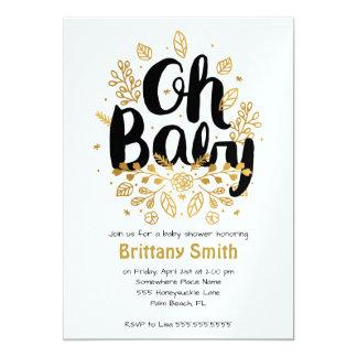 Gold Leaf Baby Shower Card