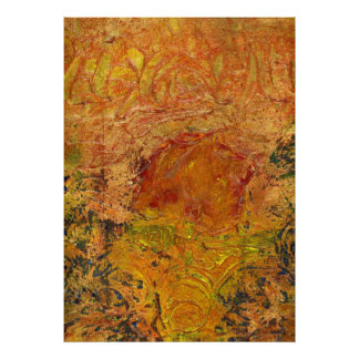 Gold Leaf Big or  SmallTexture Abstract Painting Poster