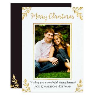 Gold Leaf Christmas (White) - Christmas Photo Card