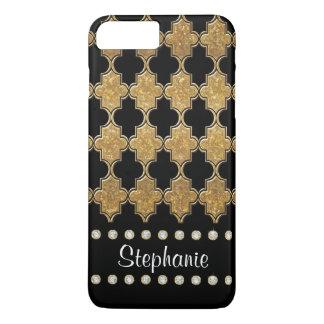 Gold Leaf Diamond Jewel Quatrefoil Trellis Pattern iPhone 8 Plus/7 Plus Case