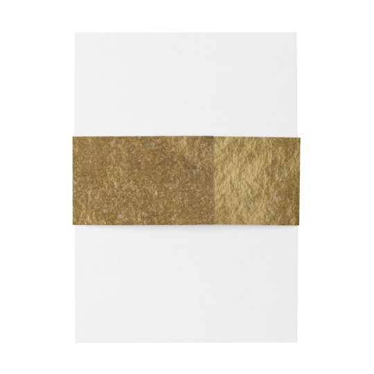 Gold Leaf Foil Look Modern Chic Elegant Wedding Invitation Belly Band