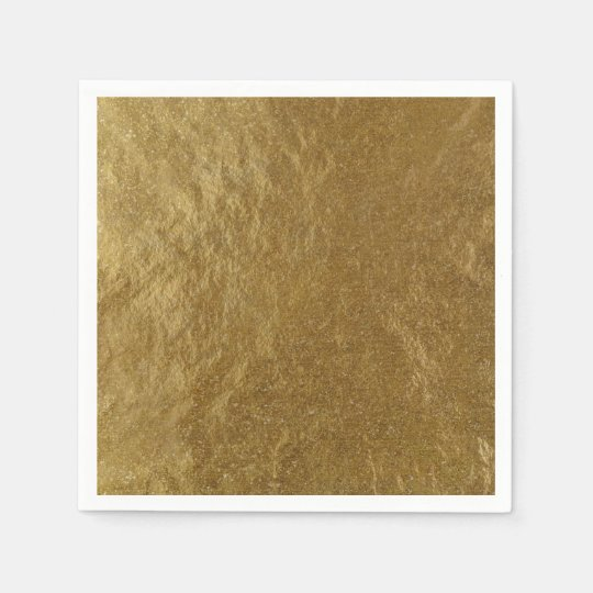 Gold Leaf Foil Look Modern Elegant Chic Wedding Paper Napkins