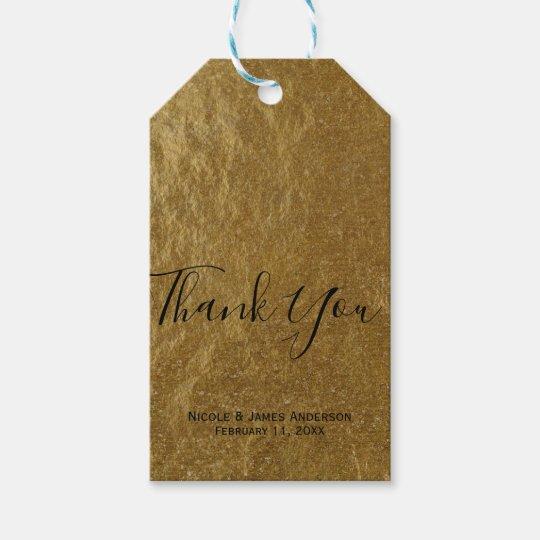 Gold Leaf Foil Look Modern Elegant Wedding Favour Gift Tags