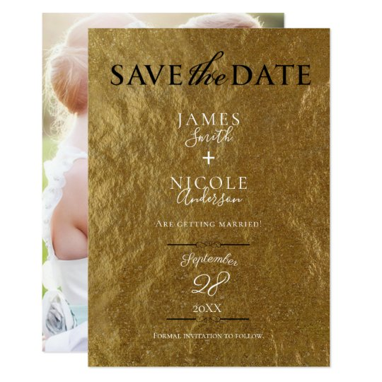 Gold Leaf Foil Modern Full Photo Save the Date Card