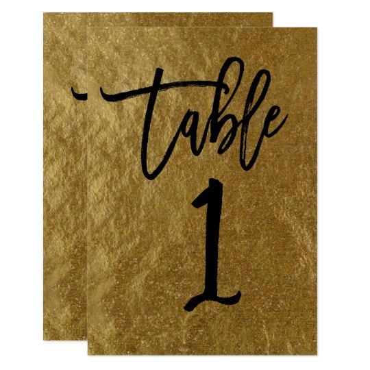 Gold Leaf Foil Modern Script Table Number 1