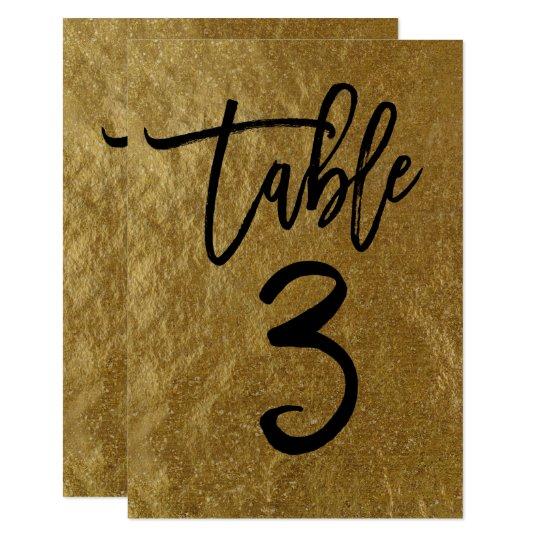 Gold Leaf Foil Modern Script Table Number 3