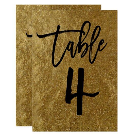 Gold Leaf Foil Modern Script Table Number 4