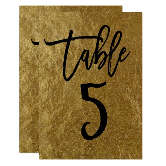 Gold Leaf Foil Modern Script Table Number 5
