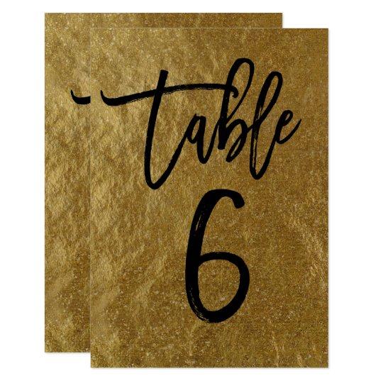 Gold Leaf Foil Modern Script Table Number 6
