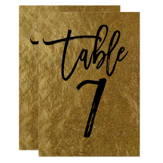 Gold Leaf Foil Modern Script Table Number 7
