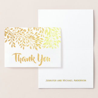 Gold Leaf Foil Thank You with Signature Foil Card