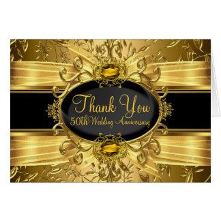 Gold Leaf & Gem 50th Anniversary Thank You Card