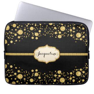 Gold Leaf Glitter Confetti Polka Dots Sparkle Laptop Computer Sleeve