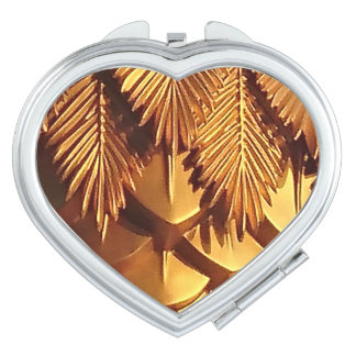 Gold Leaf  Heart Compact Mirror