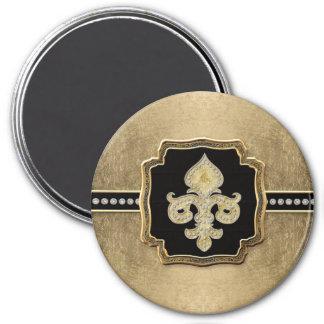Gold Leaf Look Fleur de Lis Faux Vintage Jewel 3 Inch Round Magnet