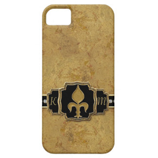 Gold Leaf Look Fleur de Lis Faux Vintage Jewel iPhone 5 Case