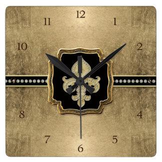 Gold Leaf Look Fleur de Lis Faux Vintage Jewel Square Wall Clock