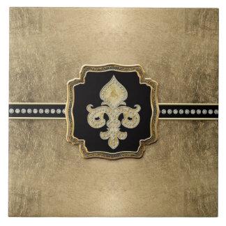 Gold Leaf Look Fleur de Lis Faux Vintage Jewel Tile
