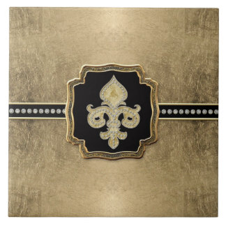 Gold Leaf Look Fleur de Lis Faux Vintage Jewel Tiles