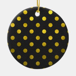 Gold Leaf Metallic Faux Foil Large Polka Dot Black Ceramic Ornament
