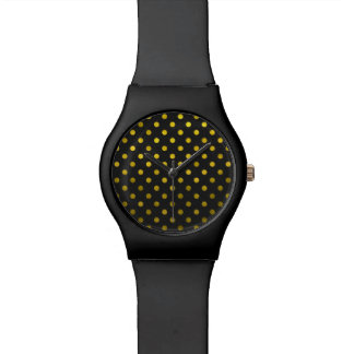 Gold Leaf Metallic Faux Foil Small Polka Dot Black Watch