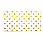 Gold Leaf Metallic Faux Foil Small Polka Dot White