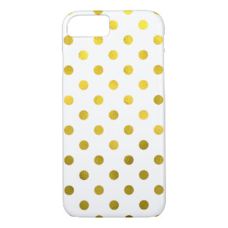 Gold Leaf Metallic Faux Foil Small Polka Dot White iPhone 7 Case
