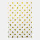 Gold Leaf Metallic Faux Foil Small Polka Dot White Kitchen Towel