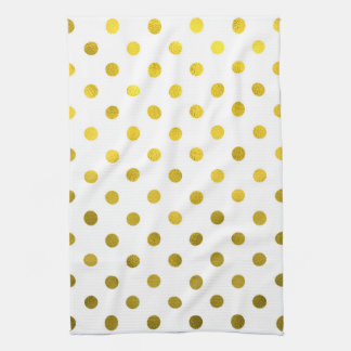 Gold Leaf Metallic Faux Foil Small Polka Dot White Kitchen Towel