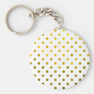 Gold Leaf Metallic Polka Dot on White Dots Pattern Basic Round Button Keychain