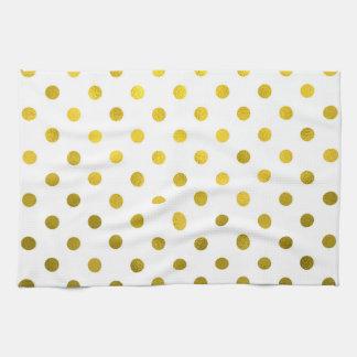 Gold Leaf Metallic Polka Dot on White Dots Pattern Kitchen Towel