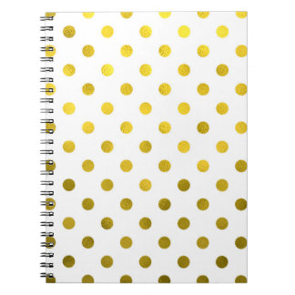 Gold Leaf Metallic Polka Dot on White Dots Pattern Notebooks