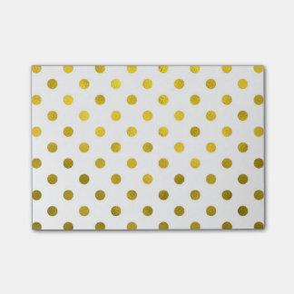 Gold Leaf Metallic Polka Dot on White Dots Pattern Post-it Notes