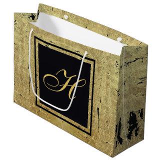 Gold Leaf Monogram Large Gift Bag