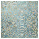Gold Leaf on Blue Leopard Fabric