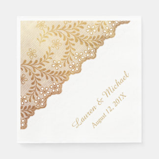 Gold Leaf Pattern Faux Eyelet Lace Wedding Paper Napkin