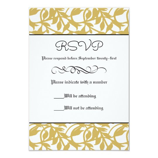 Gold Leaf Retro Formal - RSVP Card