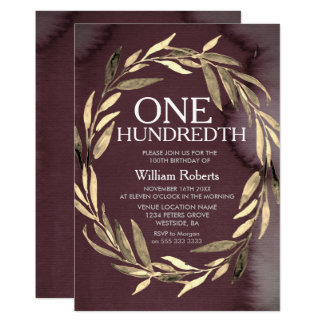 Gold Leaf Wreath Male 100th Birthday Party Invite