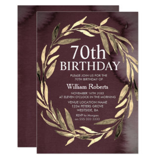 Gold Leaf Wreath Male 70th Birthday Party Invite