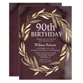 Gold Leaf Wreath Male 90th Birthday Party Invite